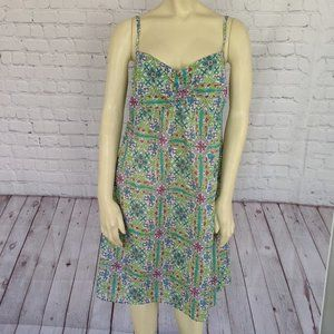 Tommy Bahama M Blue Green White Print Cotton Dress